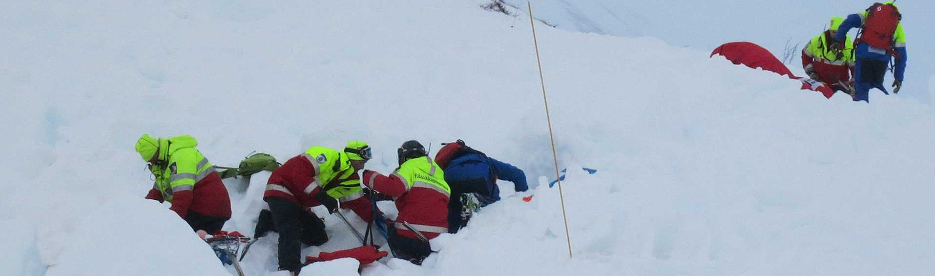 Mountain rescue team serching in the snow after an avalanche